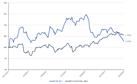 Change in NAV compared to the MSCI World Index in Euro
